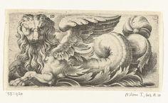 Gevleugelde zeeleeuw met golvende manen en een baard, Adam Fuchs, Giovanni Andrea Maglioli, Paul Fürst, c. 1526 - 1606