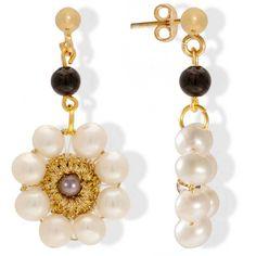 Handmade Vintage Crochet Drop Flower Earrings With Pearls & Gemstones Pearl Drop Earrings, Flower Earrings, Pearl Jewelry, Crochet Earrings, Pearl Gemstone, Gemstone Earrings, Vintage Earrings, Vintage Jewelry, Pearl Flower