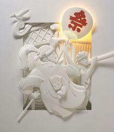 Intricate paper sculptures  http://www.weird-thing.com/2015/07/monochromatic-paper-sculptures.html