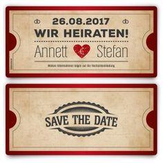 save the date karte im flugticket motiv - gelb #savethedate, Einladungen