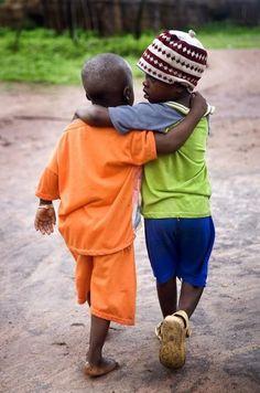 Hugs all around, happy children, make you smile