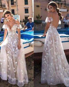 Sexy V-neck White Sling Off Shoulder Prom Dresses - Hochzeit und Braut Wedding Dress Trends, Dream Wedding Dresses, Boho Wedding Dress, Bridal Dresses, Wedding Gowns, Girls Dresses, Bridesmaid Dresses, Formal Dresses, Maxi Dresses
