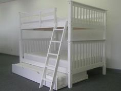 Bunk Bed $665 Full Over Full Mission Style In White With Twin Trundle