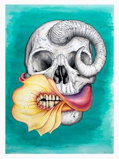 """A piece from Jeff Proctor's """"Flora and Fascia"""". Illustrator Jeff Proctor dances the line between beauty and horror, creating work that is gruesomely captivating. Imagery of zombies, skulls, and flowers with an overbite tickle our imagination."""