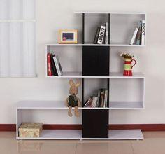 #Wooden #Storage #Bookcase #White #Black #Shelves #Bookshelf #Home #Office #Furniture #New