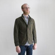 Engineered Garments - Bedford Jacket - Olive Moleskin - Indigo & Cotton