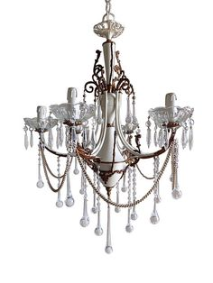 One-of-a-kind brass crystal chandelier, Italian vintage with Murano drops, piece of art with artist's signature