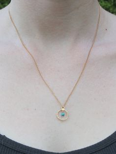Delicate necklace Turquoise gemstone in a gold by thefawnscharms, $26.00