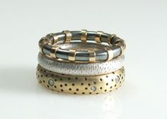 Textured stacking band rings by Susan Chin