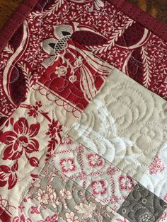 Handmade Holiday Table Runner Quilt of red taupe and by Quiltmamas
