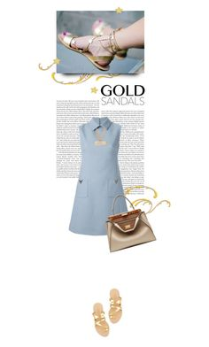 """""""Micro Trend: Solid Gold Sandals"""" by cultofsharon ❤ liked on Polyvore featuring Loeffler Randall, Valentino, Fendi and Moschino"""