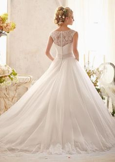 Mori Lee -Classic Chantilly Lace on Tulle with Wide Hemline and Satin Waistband