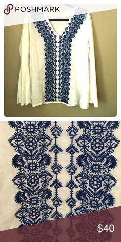 Michael KORS top This striking blue and white top is the perfect top for any summer day. The beautiful embroidery makes a statement with its bohemian vibe and breathable fabric. MICHAEL Michael Kors Tops Blouses
