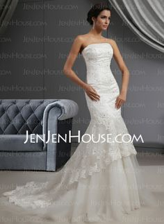 Wedding Dresses - $368.99 - Mermaid Strapless Court Train Satin Tulle Wedding Dress With Lace Beadwork Sequins (002022655) http://jenjenhouse.com/Mermaid-Strapless-Court-Train-Satin-Tulle-Wedding-Dress-With-Lace-Beadwork-Sequins-002022655-g22655