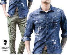 Detailed Denim shirt matched with khaki cargos