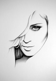 ART :: Madonna Fine Art Pencil Drawing - Portrait Print by Ileana Hunter
