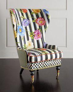 H87HK MacKenzie-Childs Cutting Garden High-Back Wing Chair
