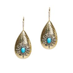 MURPHY EARRINGS - The Murphy Earrings will frame your face and enhance your look.  Comprised of a hammered polished gold drop, these earrings are enhanced with a starburst of dark rhinestones with a turquoise center.  Put these on with skinny jeans, a soft tee and heels and youll be ready for the party. $$52.00 www.michell.kitsylane.com
