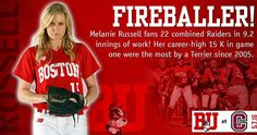 What a day for Melanie! She struck out 22 batters in 9.2 combined innings and her career-high 15 K in game one were the most by a Terrier since Ashlee Freeman had 18 in a 16-inning game against UMBC in 2005. #ProudToBU by bostonusoftball