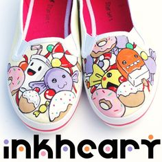 Shoes Sweet & Candies Handpainted Customs Womens by InkHeartKicks, £49.00