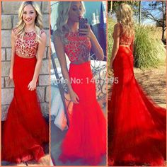 2 piece formal long dresses red