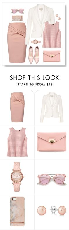 """""""Career Neutrals"""" by dazzling-dazed-dayz ❤ liked on Polyvore featuring WtR, Hobbs, Banana Republic and Michael Kors"""