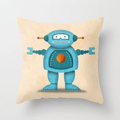 Robot Pillow Cover by krankykrab