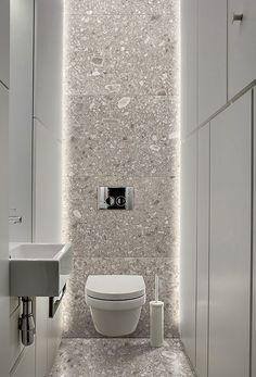 Small toilet room - 31 beautiful half bathroom ideas for your home 12 Bad Inspiration, Bathroom Inspiration, Bathroom Ideas, Family Bathroom, Bathroom Renovations, Modern Bathroom Design, Bathroom Interior Design, Gray Interior, Bathroom Designs