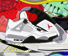 More real boy shoes for you. This Air Jordan Cement IV illustration gives me everything