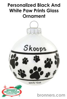 Personalized Black And White Paw Prints Glass Ornament from Bronner's Christmas store of Christmas ornaments and Christmas lights Christmas Wonderland, Personalized Ornaments, Paw Prints, Paint Pens, Glass Ornaments, Hungary, Christmas Bulbs, Best Gifts, Touch