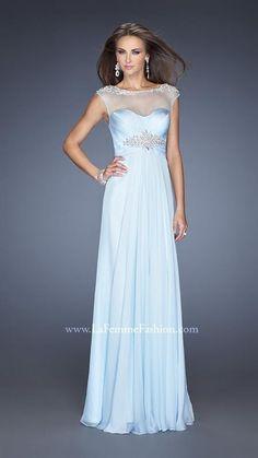 Chiffon Light Blue La Femme Prom Dress 19977