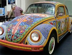 Beaded VW Car   I cannot even begin to imagine the time and patience that this artist has.  WOW - just wow.  I think Stony Creek Bead should buy it for me to drive around town in.  Don't you?