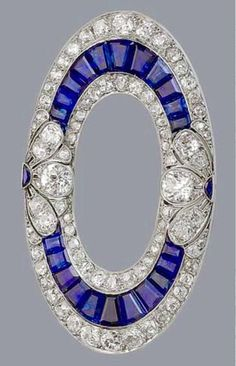 "Geometric designs are a hallmark of Art Deco period jewels. Here's an elegant oval Sapphire + Diamond Brooch from Seems a bit early for ""Art Deco"". Art Deco Jewelry, Fine Jewelry, Jewelry Design, Boho Jewelry, Jewelry Making, Antique Jewelry, Vintage Jewelry, Jewelry Armoire, Antique Silver"