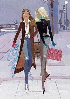 I grew up on Edmond Kiraz's Parisiennes. Winter Illustration, Graphic Illustration, Parisienne Style, My Little Paris, Paul Poiret, Swatch, Z Arts, Fashion Art, Fashion Design
