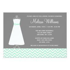 Modern Chevron Gown Mint Gray Bridal Shower Card
