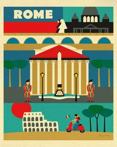 Rome, Italy is available in an array of finishes, materials, and sizes, this retro inspired wall art will make Rome feel close to your heart with its bright color palette and unique design. You can st
