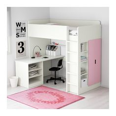STUVA Loft bed with 2 shelves/2 doors, white, pink white/pink Twin