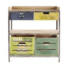 Consola de metal y madera verde An. 85cm Farmers