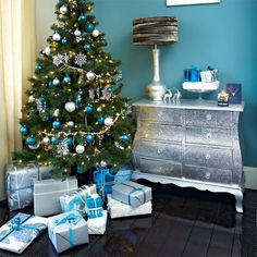 Teal and silver tree | Living room | PHOTO GALLERY | Style at Home | Housetohome IdeaFor my hobby room that is aqua