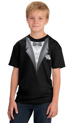 Tuxedo Kids T-shirts With White Flower - Youth Black Tuxedo Kids T-shirts - Youth Tuxedo Kids T-shirts With White Flower - Youth Black This Tuxedo