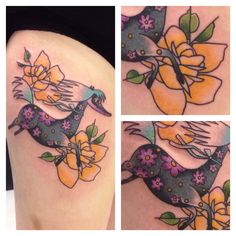 Traditional moomin tattoo with roses by Jessica Jonetta