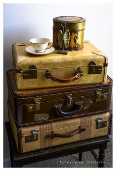 Stack of vintage suitcases.  #luggage