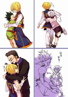 To Gon: aww, I missed you too!; to Killua: hey, I missed you too,; to Leorio: don't worry, I didn't forget you...; to Hisoka: AW HELLS NAW,