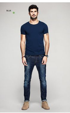 Summer Mens T Shirts Cotton Black White Gray Color – GaGodeal Source by gagodeal Outfits mens Stylish Mens Outfits, Business Casual Outfits, Men's Casual Outfits, Blue Shirt Outfit Men, Blue Jean Outfits, T Shirt And Jeans, Mens Clothing Styles, Men Casual, Menswear