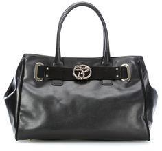 Handtasche Leder schwarz 37 cm
