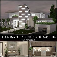 Illuminate - A Futuristic Modern by Petalbot by petalbot - The Exchange - Community - The Sims 3 Two Story House Design, Sims 4 House Design, Sims 4 House Building, Sims House Plans, Sims 3 Mansion, Sims 3 Houses Ideas, Sims Ideas, Sims 4 Loft, Living Room Sims 4