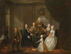 Group portrait, probably of the Raikes family by Gawen Hamilton, between 1730 and 1732