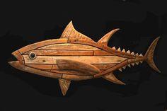Bluefin tuna - made by: Paul Jansen #fishart #surfart #woodcarving #totempauljansen #bluefintuna #tuna