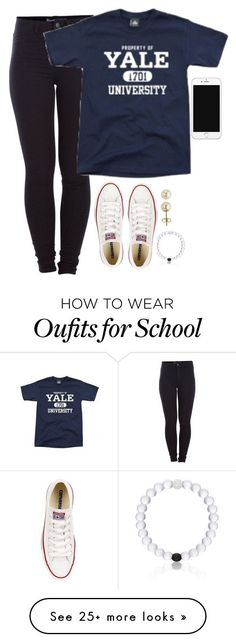 """Better weather for school today!"" by meljordrum on Polyvore featuring Lord & Taylor, Pieces, Everest and Converse"