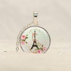 Eiffel Tower Vintage Ephemera Pendant, Eiffel Tower Necklace, Paris Pendant CS49 by prideandpendants on Etsy